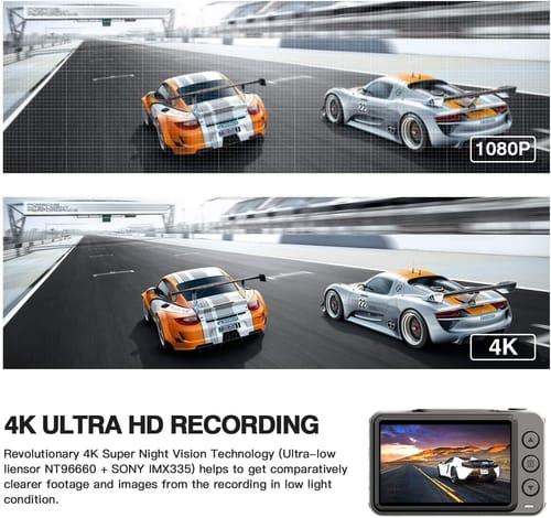 Review JOMISE Dual 4K UHD WiFi GPS Dash Cam Car
