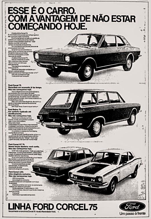 Anúncio antigo da Ford promovendo a linha 1975 do Corcel