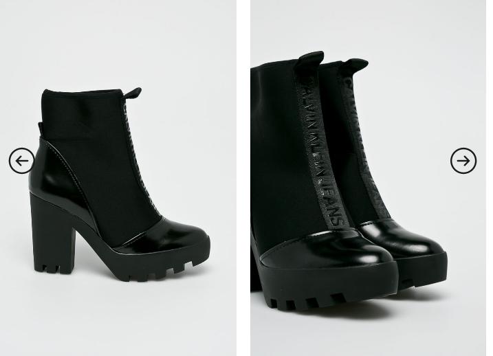 Botine de iarna cu toc gros negre originale Calvin Klein Jeans pret mic online