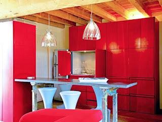 Cocina color rojo
