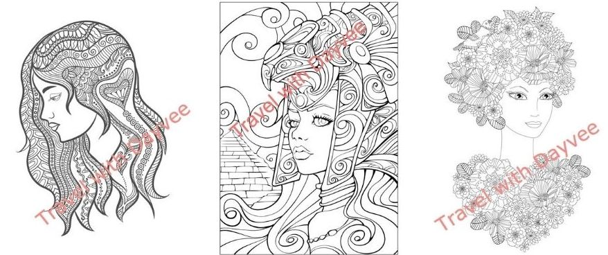 Beauties of the world coloring book sample pages