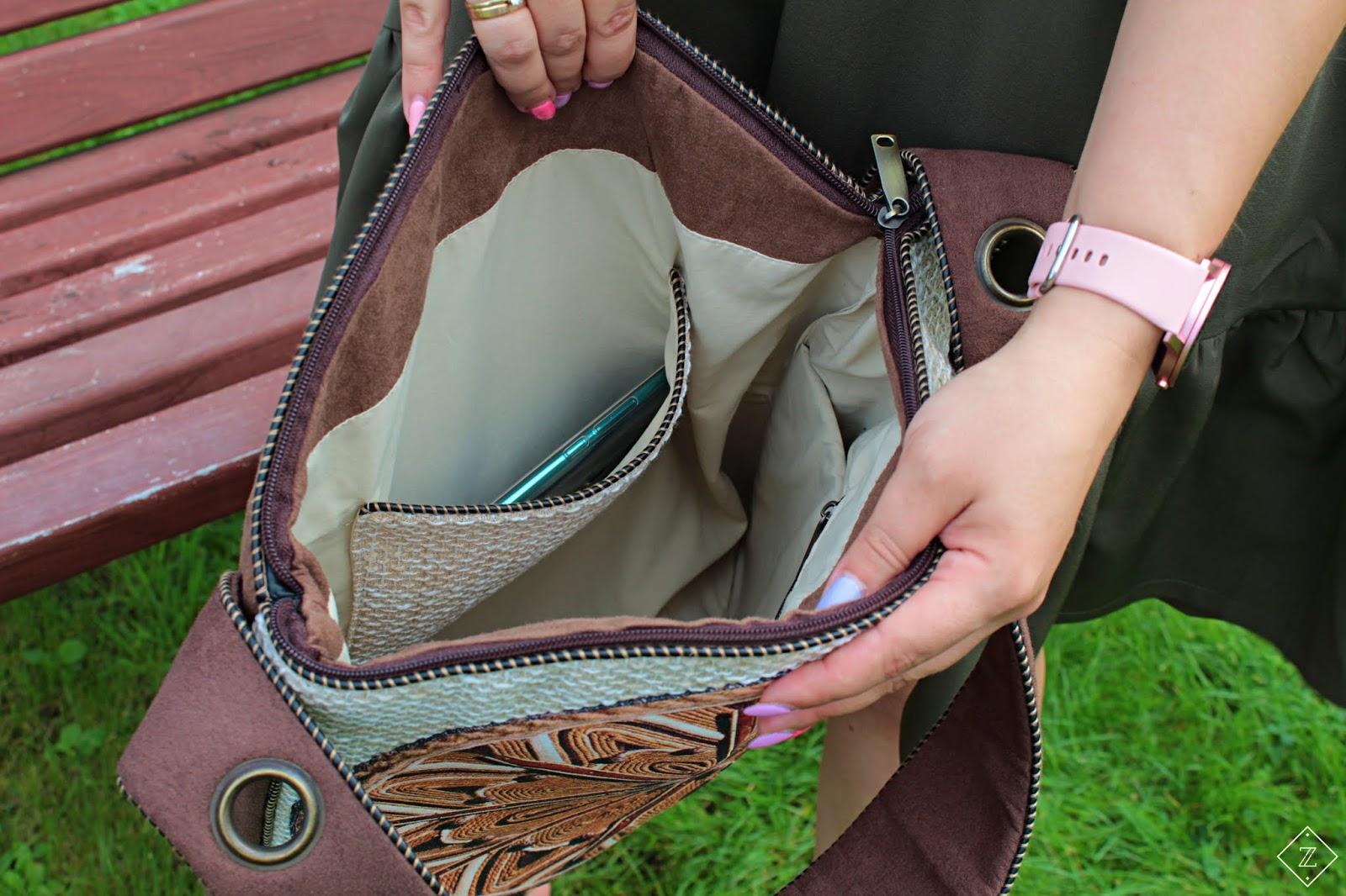 Kremowa duża torba na ramię z mandalą w stylu boho - RYHENKA