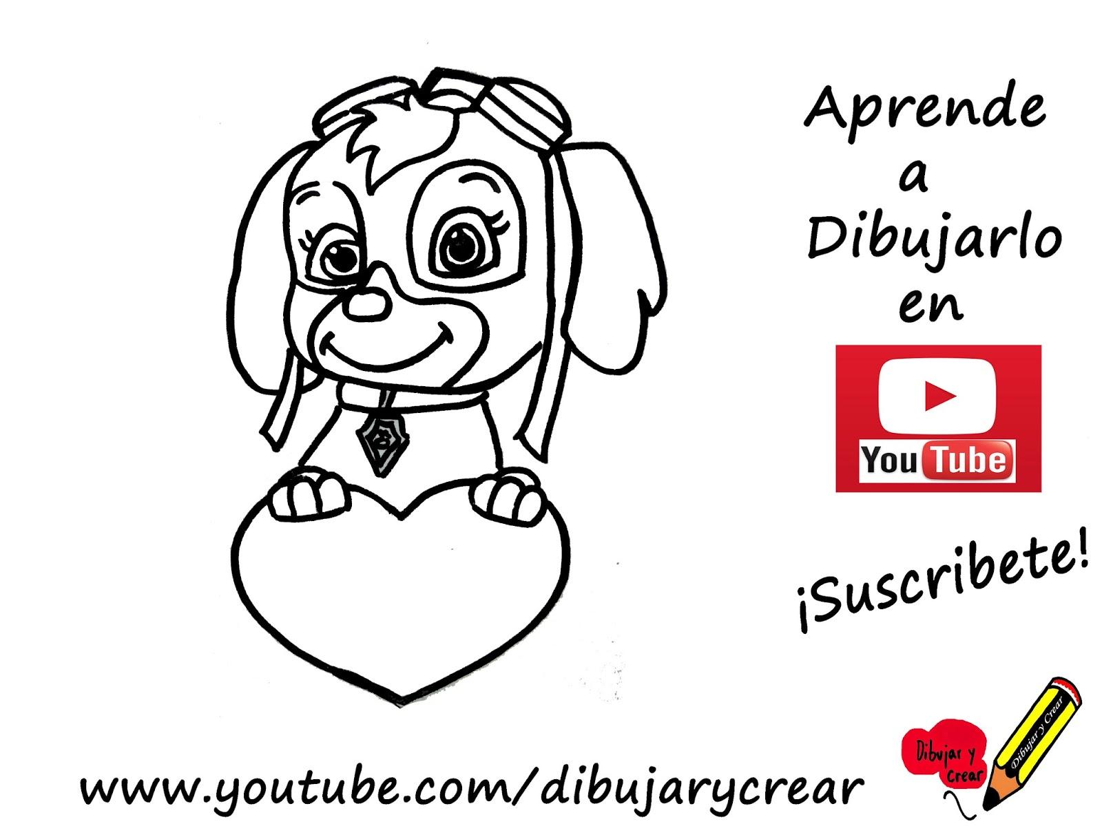 Dibujos De La Patrulla Canina En Color: Dibujar Y Crear: Como Dibujar A Skye Con Corazon (Patrulla