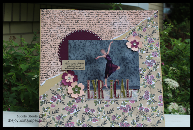 12 x 12 scrapbook layout of Lyrical dance photo