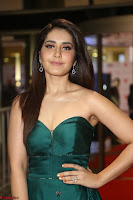 Raashi Khanna in Dark Green Sleeveless Strapless Deep neck Gown at 64th Jio Filmfare Awards South ~  Exclusive 138.JPG