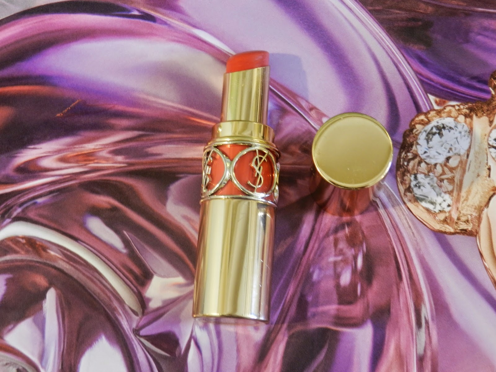 YSL Rouge Volupté Shine in 16 Orange Impertinent