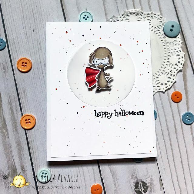 Halloween card with a super hero dog by Kinda Cute by Patricia Alvarez