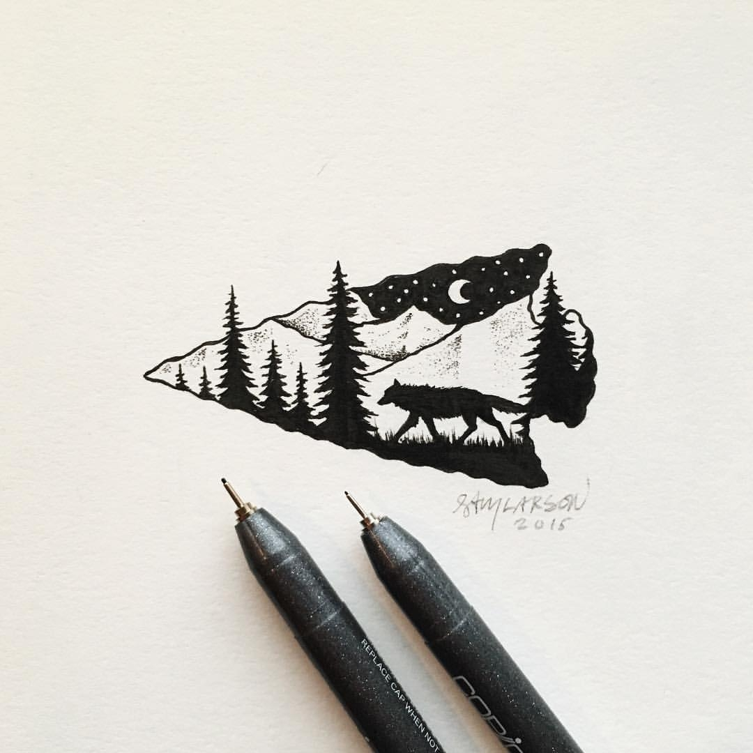 22-Wolf-in-an-Arrowhead-Sam-Larson-Injection-of-Inspiration-in-Diverse-Drawings-www-designstack-co
