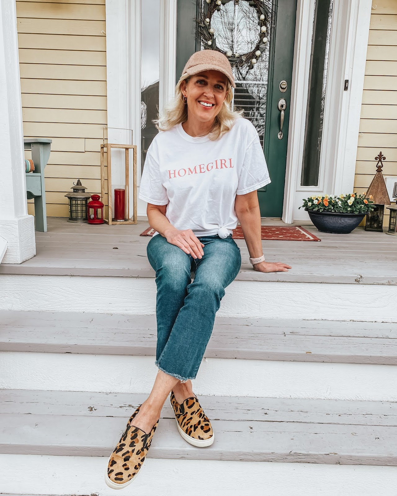 Perfect outfit for relaxing at home during the lockdown from Jill at Doused in Pink: Homegirl tee-shirt, leopard sneakers and jeans