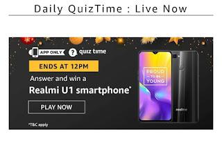 AMAZON QUIZ Today Answer - 22 December 2019 | Win Realmi U1 Smartphone