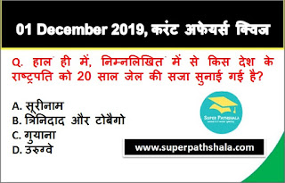 Daily Current Affairs Quiz in Hindi 01 December 2019