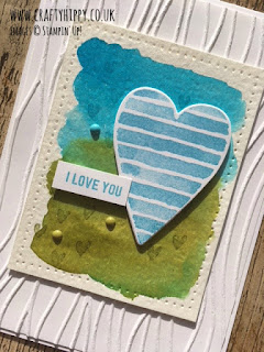 Create a heart card - use an Aqua Painter, Classic Stampin' Pad and the Heart Happiness stamp set by Stampin' Up!