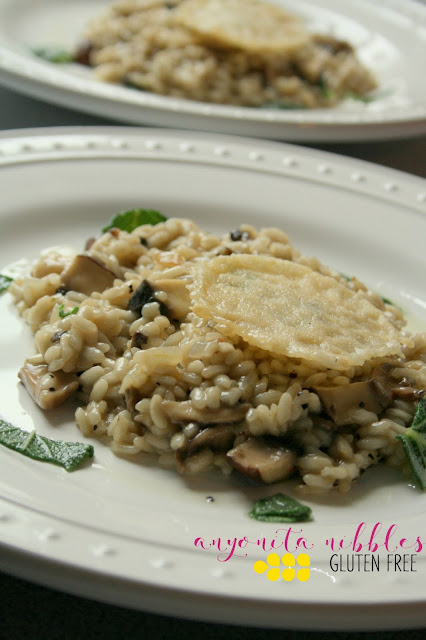 Two servings of Gluten Free Portabello Risotto with Parmesan Crisp | Anyonita Nibbles