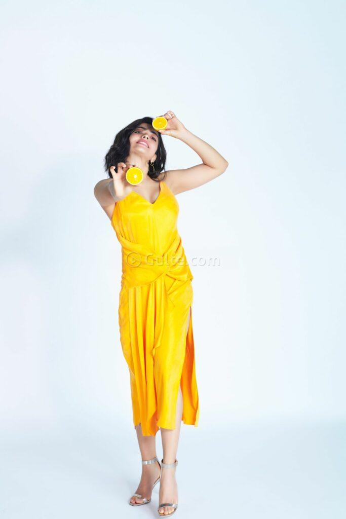 Actors Gallery; Rashmika Mandanna Yellow Dress With Lemon Photoshoot Clicks