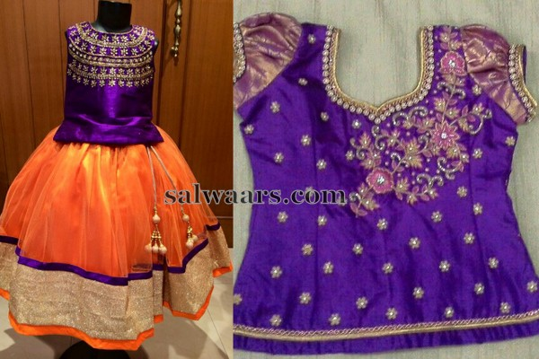Orange Lehenga Purple Collar Blouse