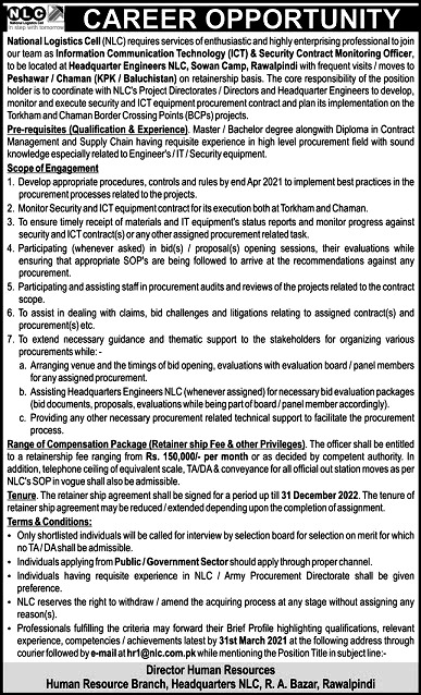 Latest Jobs in National Logistics Cell NLC 2021 Apply online At www.nlc.com.pk