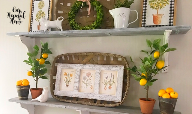 spring farmhouse decor botanicals lemons tobacco basket