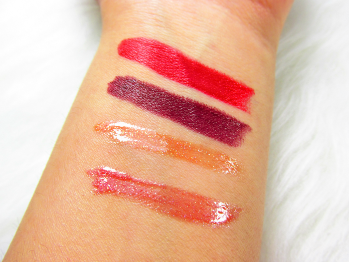 p2 Fabulous Beauty Gala Swatches - Glamouros Diva Lipstick posh red & classy purple, Lipglosse glowing orange und sparkling red
