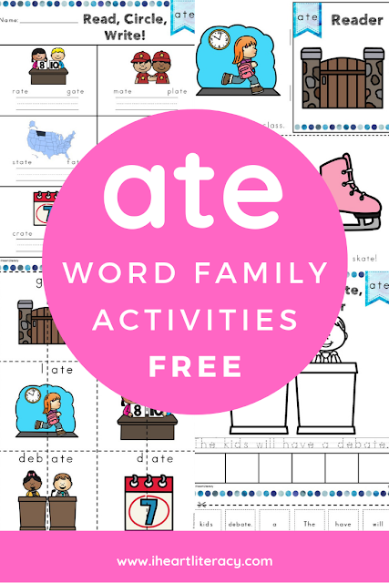 This free ate Word Family Word Work and Activities pack includes over 30 different student centered phonics activities, not just worksheets, that promote reading, tracing, writing, building, cutting, pasting, and creating words in the ate word family with little to no prep work for you. #wordwork #phonics #atewordfamily #free #teacher #firstgrade #secondgrade