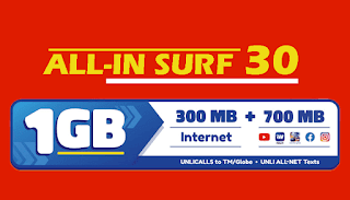 TM AS30 or All-in Surf 30 – Unli Call and All-net Texts + 1GB Data for 3 Days
