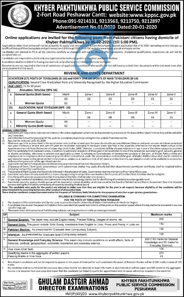 Jobs in KPPSC Khyber Pakhtunkhwa Public Service Commission 2020