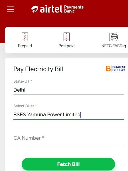 bses yamuna bill payment airtel