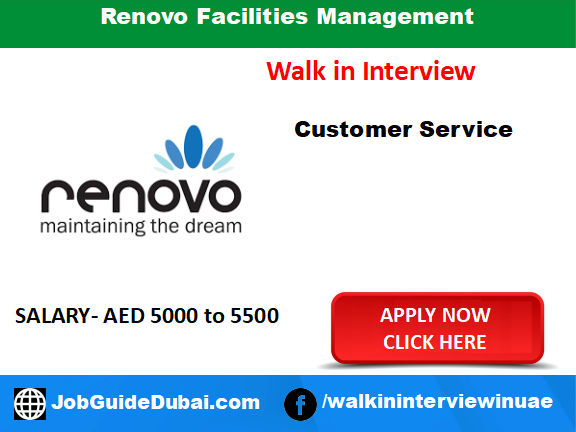 Renovo Facilities Management career customer service job in Dubai