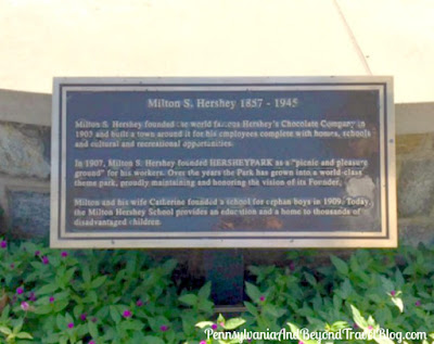 Milton S. Hershey Historical Marker at Hersheypark in Hershey Pennsylvania