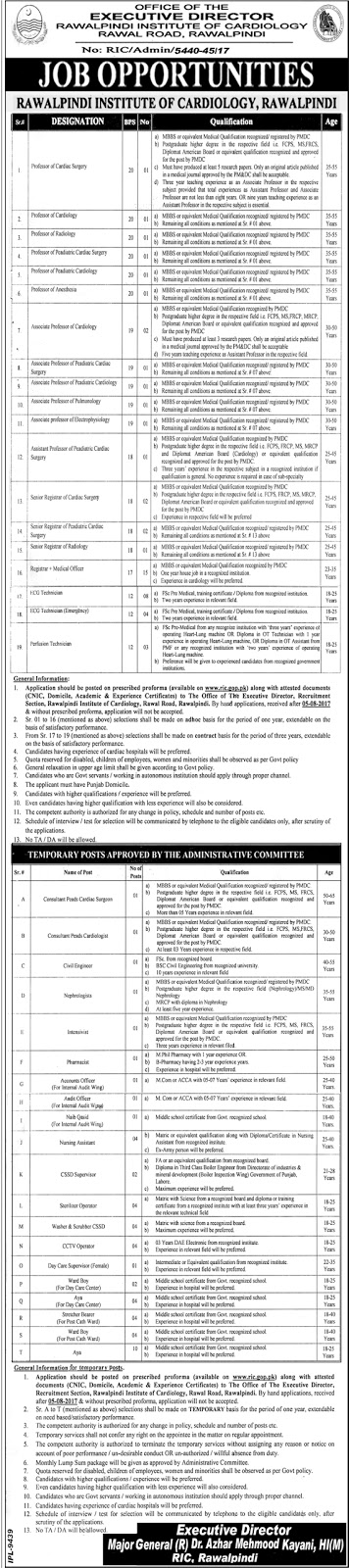 Jobs in Rawalpindi Institute of Cardiology Jobs 2017