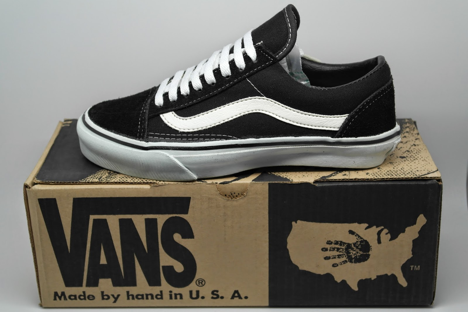 7a5f2afa1d8cee vintage VANS black OLD SKOOL style  36 MADE IN USA 90s skateboard bmx shoes  DEADSTOCK US7 US12