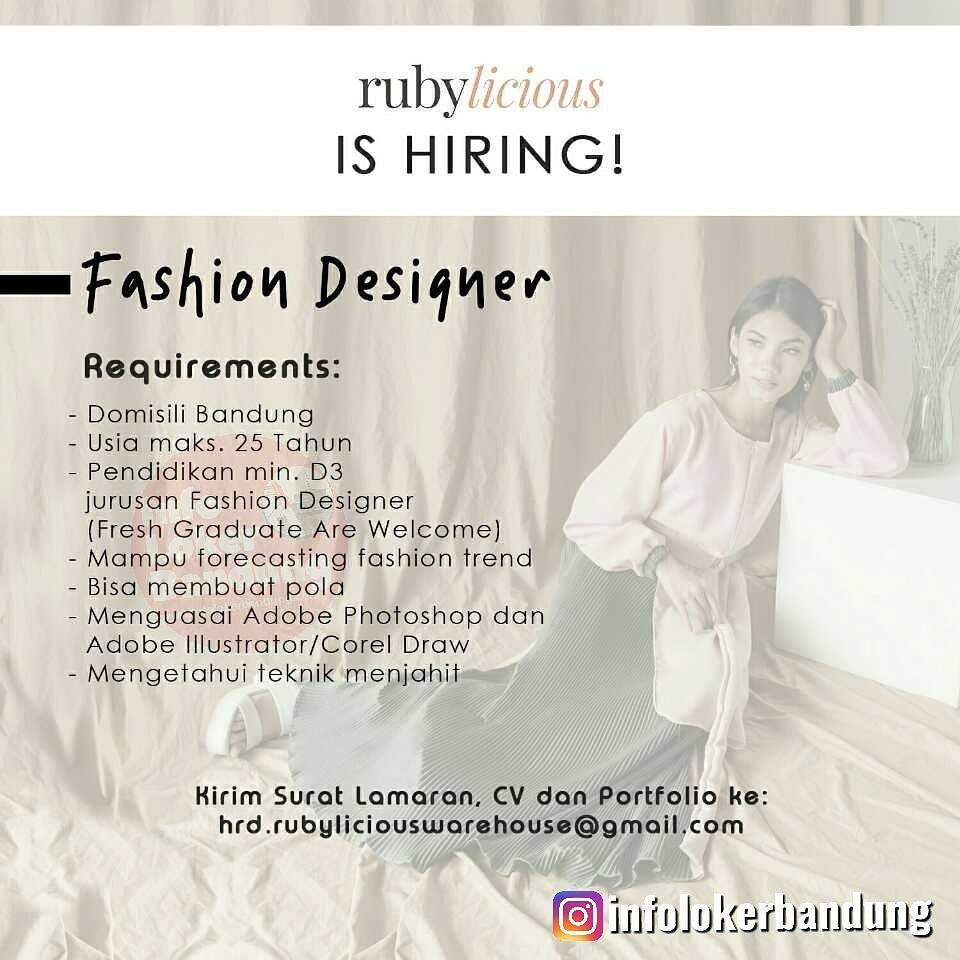 Lowongan Kerja Fashion Designer Rubylicious Bandung Juli 2019