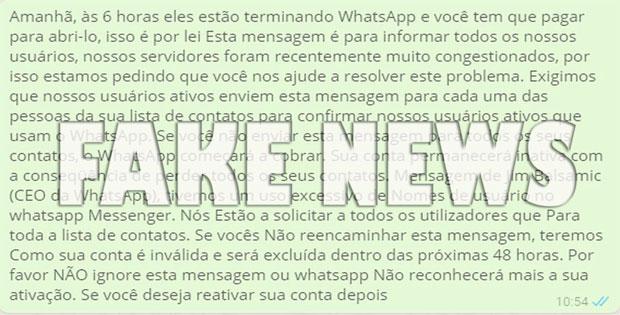 A partir de amanhã ás 6 horas o Whatsapp será pago - Boato