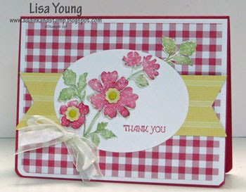 Stampin' Up! Gifts of Kindness stamp set. Gingham background. Handmade card by Lisa Young, Add Ink and Stamp