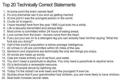 Funny Top 20 Technically Correct Statements Picture