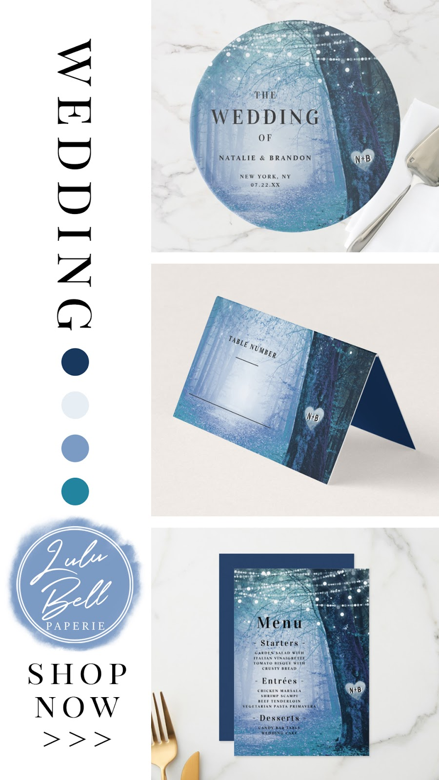Enchanted Forest Navy Blue Wedding Invitation Suite, Dinner Menus, Cake Stand, Table Decor, and Place Cards