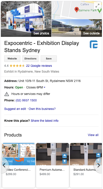 Image of a phone screen with a Business Profile for Expo Centric