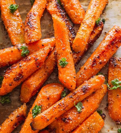 Roasted Garlic Parmesan Carrots #vegetarian #carrot #parmesan #easy #recipes