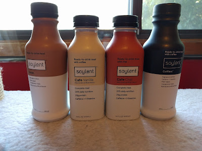 The four Soylent flavors I bought, lined up in their bottles