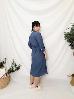 口袋裡的夏天舒棉開襟莫蘭迪藍七分袖洋裝幫手實穿