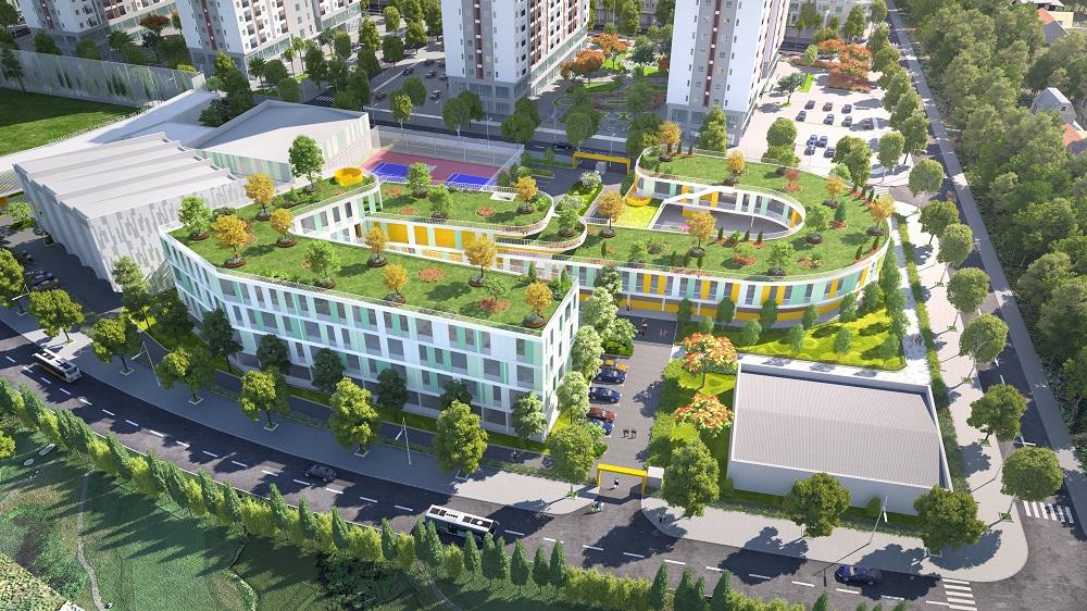 Cận cảnh trường Cấp 1 và Cấp 2 trong khu đô thị Him Lam Green Park