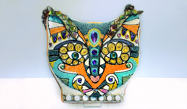 bastet cat bag, mary frances, beaded bag