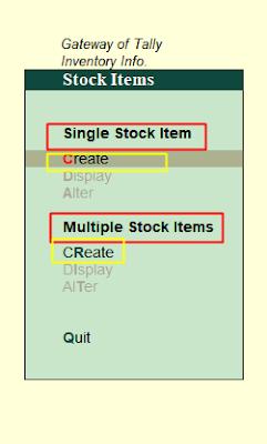 Stock iten creation in tally