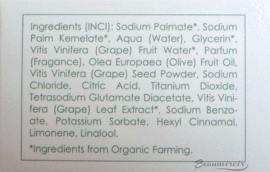 Vinali Soap Scrub ingredients list
