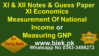 XI Economics Measurement Of National Income or Measuring GNP