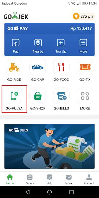 pilih layanan gopulsa di dalam aplikasi gojek