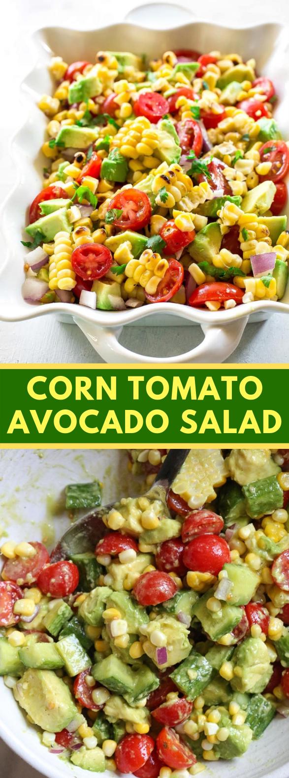 CORN TOMATO AVOCADO SALAD #vegetarian #summer