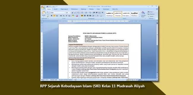 RPP Sejarah Kebudayaan Islam (SKI) Kelas XI (11) Madrasah Aliyah