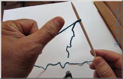 Foto mostrando um polegar colocado sobre o fio que está em uma agulha de tricô para execução da montagem simples dos pontos.