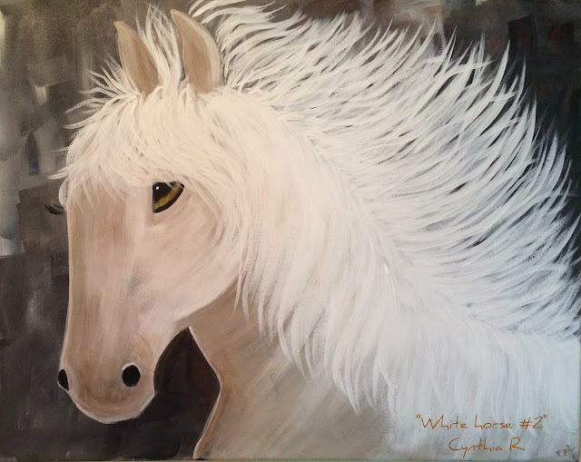 white horse, caballo blanco, pintura acrílica en canvas, caballo blanco en fondo gris, acrylic painting on canvas