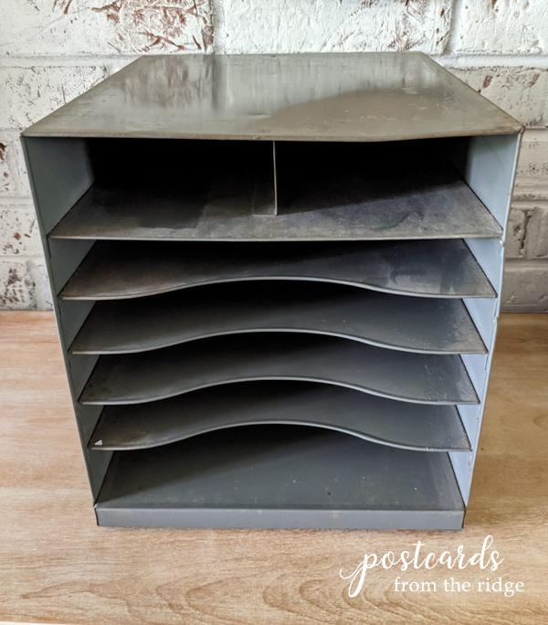 vintage metal paper organizer